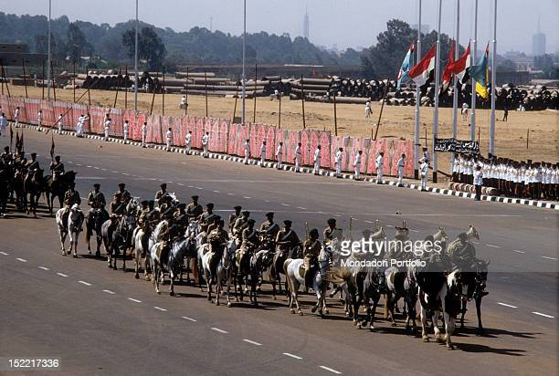 Funeral procession constituted by the military musical band on horse flags at halfmast as dead sign on October 6 Sadat was assassinated Medinet Nasr