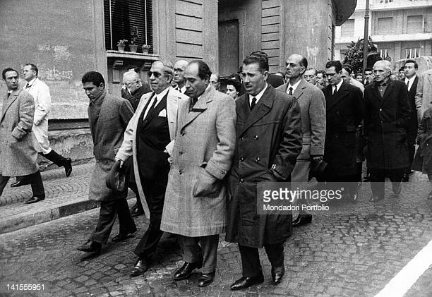 Funeral procession following the corpse of American Mafia boss Lucky Luciano Naples 26th January 1962