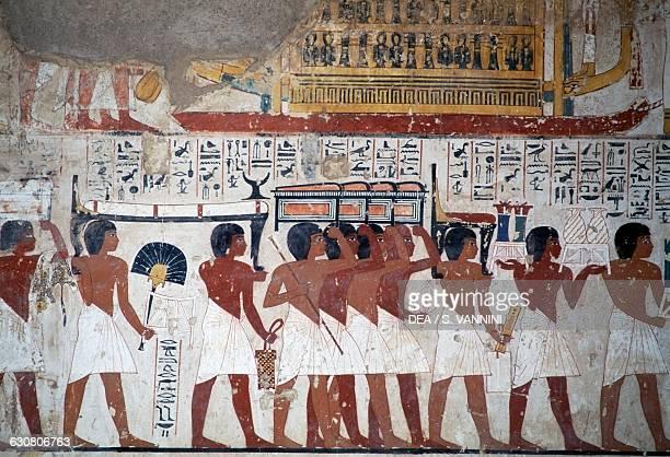 Funeral procession fresco of the Tomb of Ramose 1370 BC Theban Necropolis Egypt Egyptian civilisation Dynasty XVIII Detail