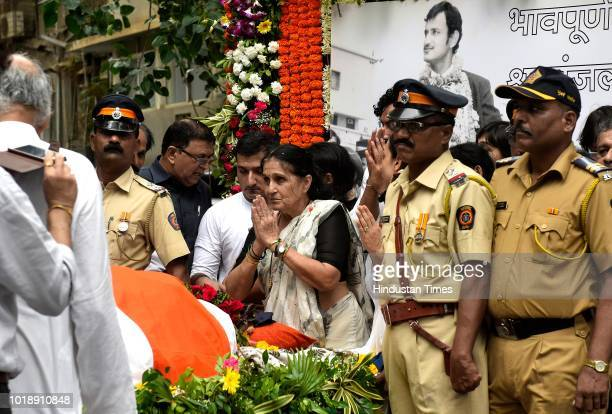Funeral procession of Ajit Wadekar at Shivaji Park on August 17 2018 in Mumbai India Former India captain Ajit Wadekar was cremated at the Shivaji...