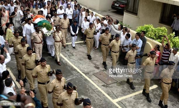 Funeral procession of Ajit Wadekar at Worli on August 17 2018 in Mumbai India Former India captain Ajit Wadekar was cremated at the Shivaji Park...