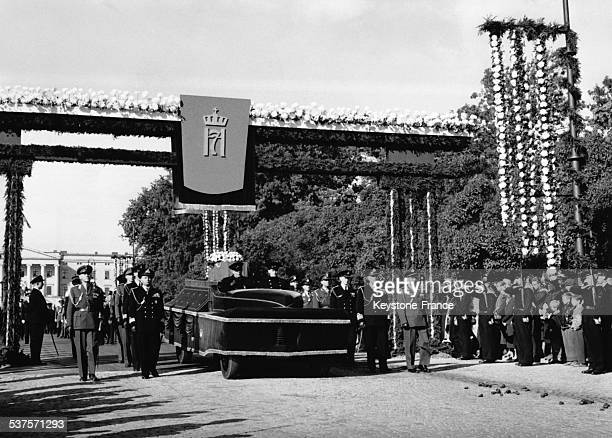 Funeral Procession of King Haakon VII in the streets in Oslo on October 11 1957 in Oslo Norway