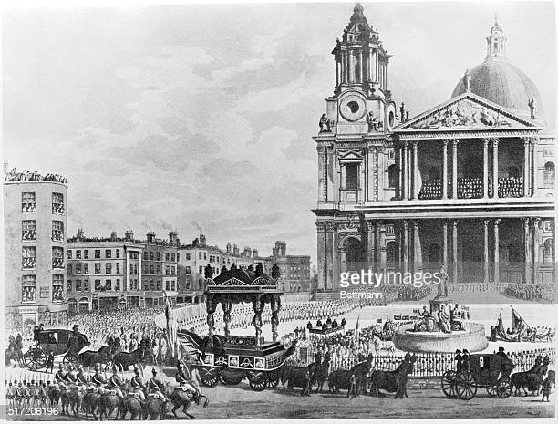 Funeral procession of Lord Nelson from the Admiralty to St Paul's Engraving by M Merigot after AC Pugin 1806