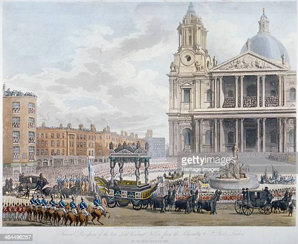 Funeral procession of Lord Nelson outside St Paul's Cathedral City of London 1806