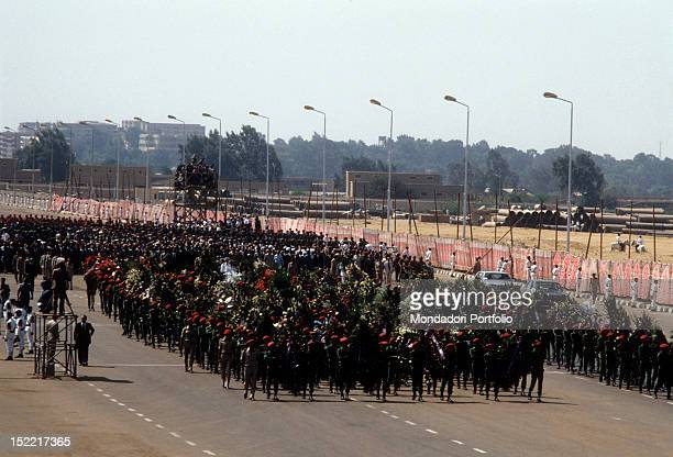 Funeral Procession of Sadat President constituted by soldiers and istitutional officers Sadat was assassinated by a terrorist on October 6 Medinet...