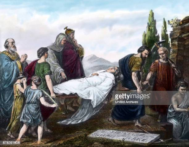 Funeral procession of St Cecilia in front of her tomb at Rome Italy
