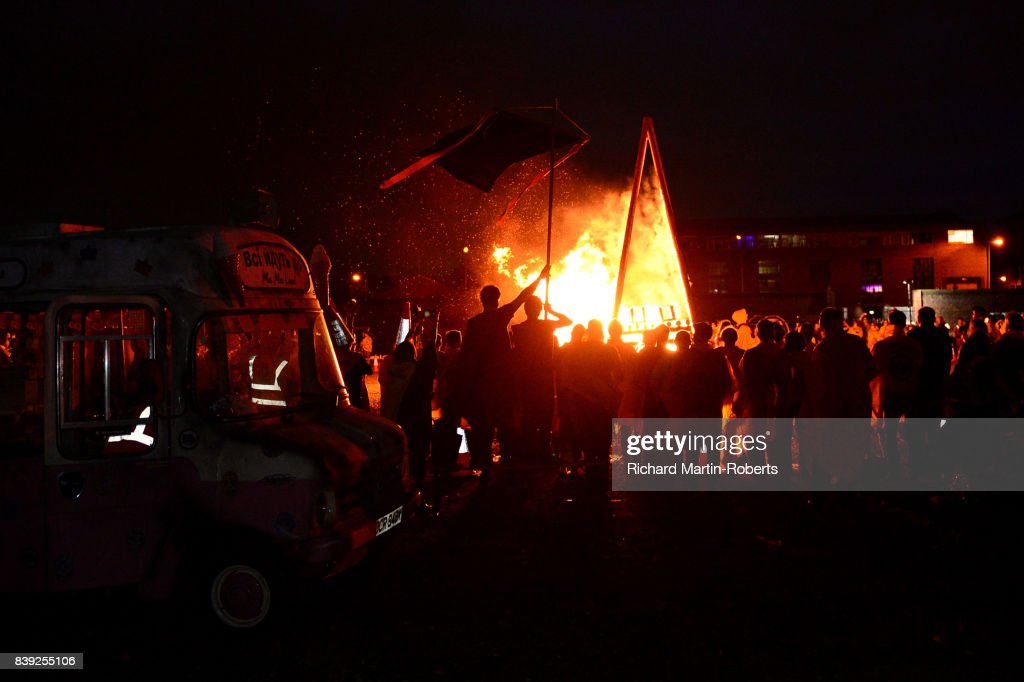 A Funeral Pyre burns on The Toxteth Day of The Dead as The Justified Ancients of Mu Mu Present 'Welcome To The Dark Ages' on August 25, 2017 in Liverpool, England.