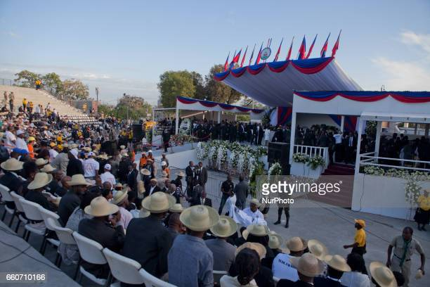 funeral service for the late former Haitian president Rene Preval who passed away on March 3 2017 at the age of 74 is held at the Champ de Mars area...