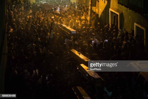Funeral service of Christians who were killed during a bus attack at Abu Garnous Cathedral in Minya Egypt Friday May 26 2017 Egyptian security and...