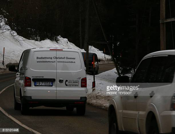 Funeral services leave in Riva di Tures bringing the bodies of alpinists killed in an Alpine avalanche on March 12 2016 Six climbers were killed in...