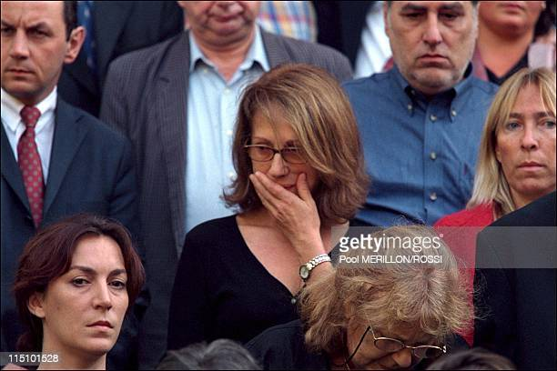 Funerals of French actor Philippe Leotard at 'Pere Lachaise' cemetery in Paris, France on August 28, 2001 - French actress and former girlfriend...