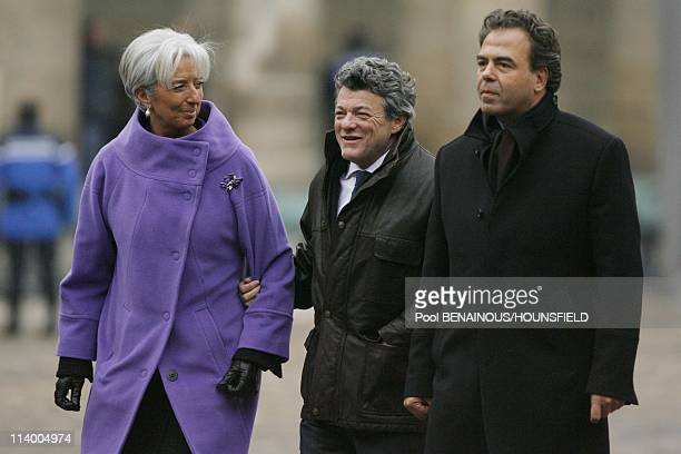 Funerals of Philippe Seguin at the Invalides In Paris France On January 11 2010Christine Lagarde JeanLouis Borloo Luc Chatel