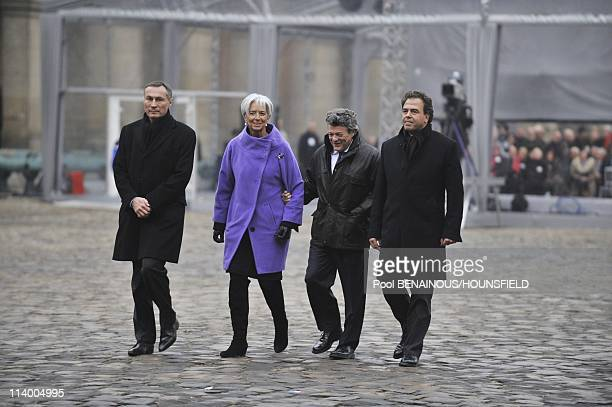 Funerals of Philippe Seguin at the Invalides in Paris In Paris France On January 11 2010JeanMarie Bockel Christine Lagarde JeanLouis Borloo Luc Chatel