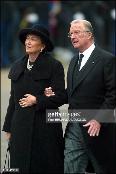 Funerals of Prince Claus of Netherlands in Delft, Netherlands On October 15, 2002-Queen Paola and King Albert of Belgium.