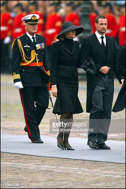 Funerals of Prince Claus of Netherlands in Delft, Netherlands On October 15, 2002-Prince Haakon of Norway and wife Mette Marit.