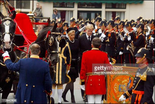 Funerals of Prince Claus of Netherlands in Delft, Netherlands On October 15, 2002-Prince Willem Alexander and wife Maxima Zorreguieta.