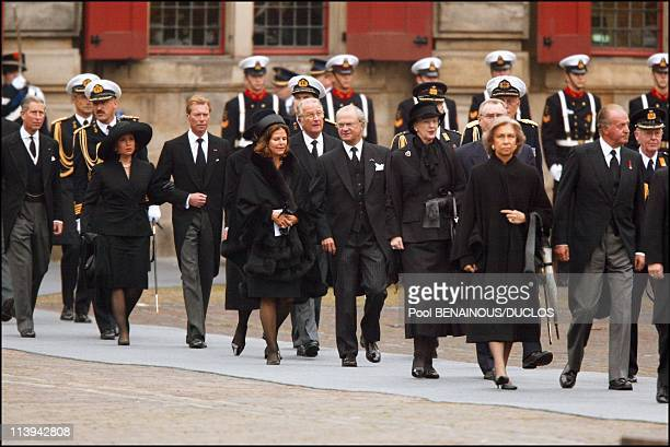Funerals of Prince Claus of Netherlands in Delft Netherlands On October 15 2002Prince Charles Grand Duke Henri and wife Maria Teresa of Luxembourg...