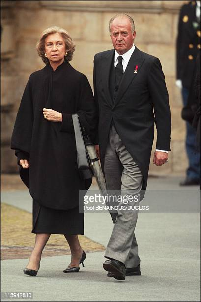 Funerals of Prince Claus of Netherlands in Delft Netherlands On October 15 2002Queen Sofia and King Juan Carlos of Spain