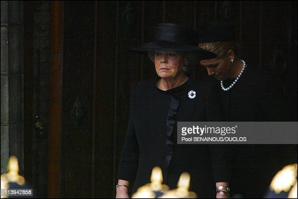 Funerals of Prince Claus of Netherlands in Delft, Netherlands On October 15, 2002-Queen Beatrix and Princess Maxima.