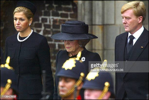 Funerals of Prince Claus of Netherlands in Delft, Netherlands On October 15, 2002-Princess Maxima, Queen Beatrix and Prince Willem Alexander.