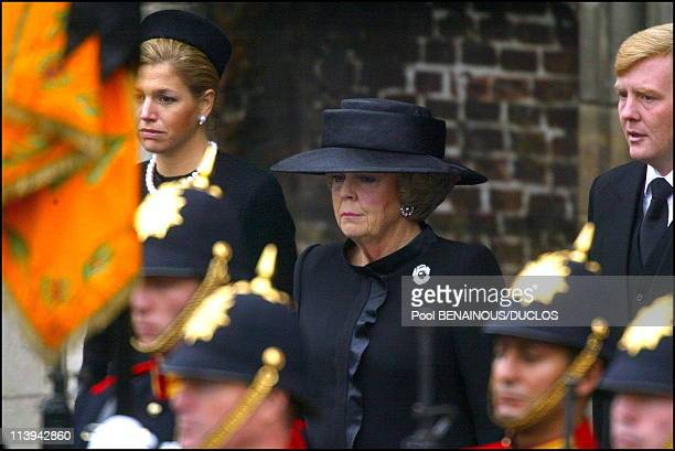 Funerals of Prince Claus of Netherlands in Delft Netherlands On October 15 2002Princess Maxima Queen Beatrix and Prince Willem Alexander