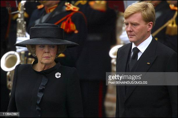 Funerals of Prince Claus of Netherlands in Delft, Netherlands On October 15, 2002-Queen Beatrix and Prince Willem Alexander.
