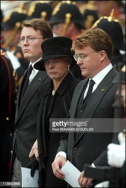 Funerals of Prince Claus of Netherlands in Delft Netherlands On October 15 2002Prince Constantijn and wife Laurentien and Prince Johann Friso