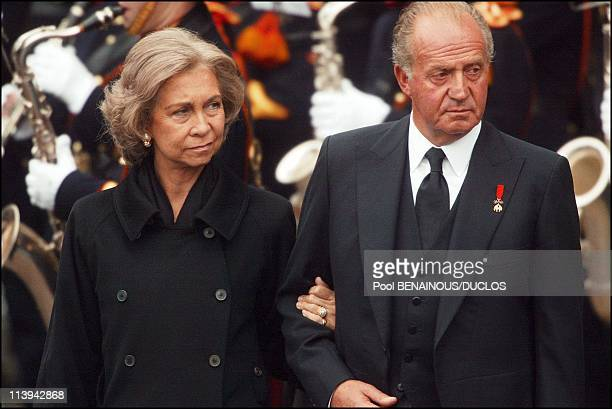 Funerals of Prince Claus of Netherlands in Delft, Netherlands On October 15, 2002-King Juan Carlos and Queen Sofia.