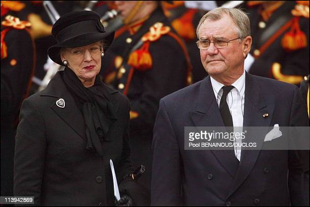 Funerals of Prince Claus of Netherlands in Delft, Netherlands On October 15, 2002-Queen Margrethe and Prince Henrik of Denmark.