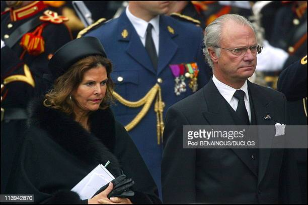Funerals of Prince Claus of Netherlands in Delft Netherlands On October 15 2002Queen Silvia and King Carl Gustav