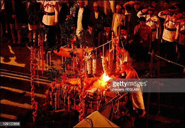 Funerals Of Royal Family Of Nepal On February 6Th 2001 In Katmandou Nepal Cremation Of King Birendra Bir Bikram Shah Deva