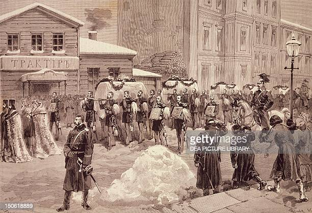 Funerals of the soldiers killed at the Winter Palace in St Petersburg February 17 from L'Illustrazione Italiana March 21 1880 Russia 19th century