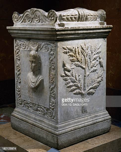 Funerary altar of Iulia Victoria died at 10 years and 5 months old relic from Rome Italy Roman Civilisation 1st century Paris Musée Du Louvre