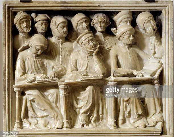 Funerary monument of Bartolomeo da Saliceto Italian jurist students attenting lessons 1412 Sculpture by Andrea Ferrucci known as Andrea da Fiesole...