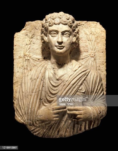 Funerary relief. Circa 125Ð150. Syria. Probably from Palmyra. Limestone. 25 1/2 x 20 1/8 x 12 in. . Stone-Sculpture. Inscription: 1 Nesha. 2 son of 3...