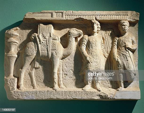 Funerary relief depicting a camel driver and his camel artefact from Syria Assyrian civilisation 9th Century BC Palmira Museo Di Palmira
