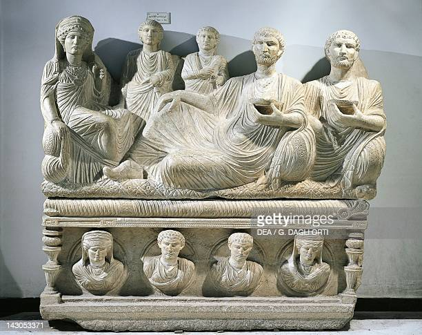 Funerary relief depicting a family, from Palmyra, Syria. Roman Vivilization 2nd-3rd Century. Damascus, Musée National De Damas