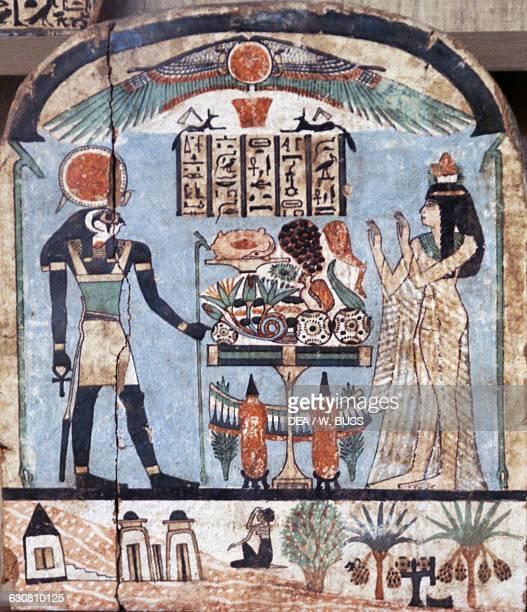 Funerary stele depicting the deceased DjedKhonsuiwesankh before the God ReHorakhty Egyptian civilisation Dynasty XXII Cairo Egyptian Museum