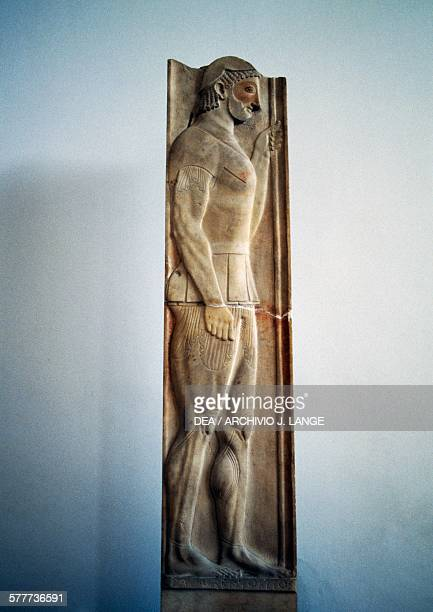 Funerary stele of a Marathonomachos or the Aristion stele 510500 BC by the sculptor Aristokles found in Velanideza in Attica Greece Greek...