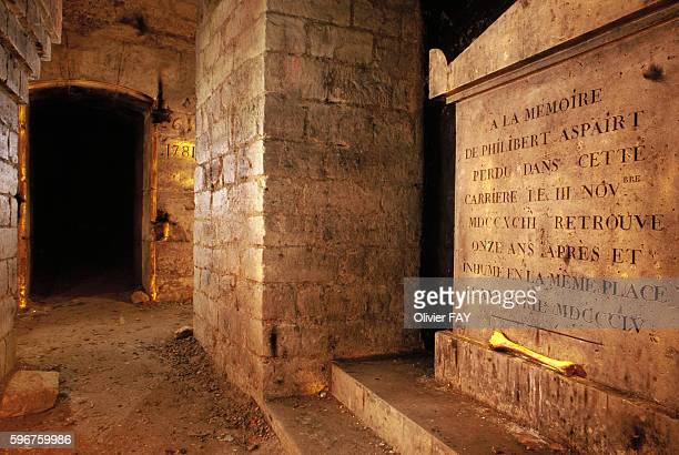 Funerary stele of Philibert Aspairt a legendary character who was lost within the subterranean quarries of Paris and died in 1793 The stele is...