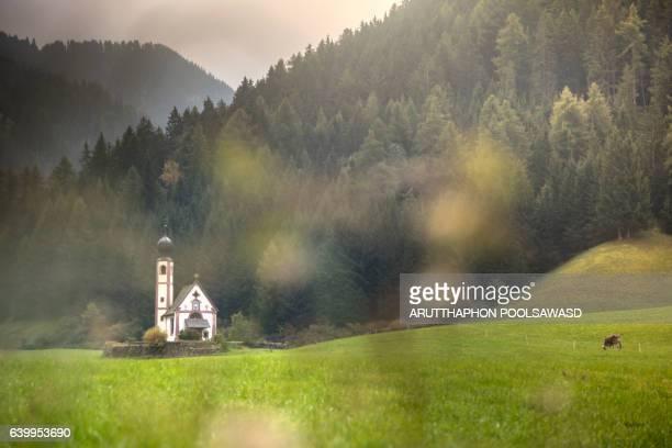 Funes small village in the mountain , european alps , dolomites Italy