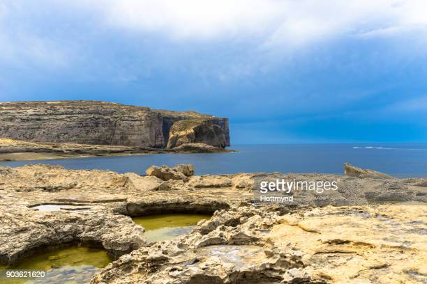 Fungus rock, a small 60 metre high rock next to the island of Gozo