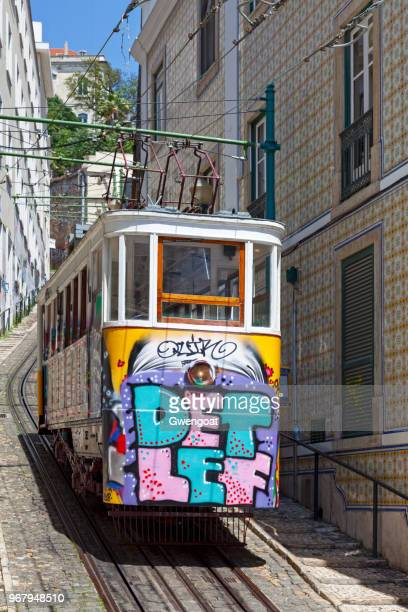 funicular in lisbon - gwengoat stock pictures, royalty-free photos & images