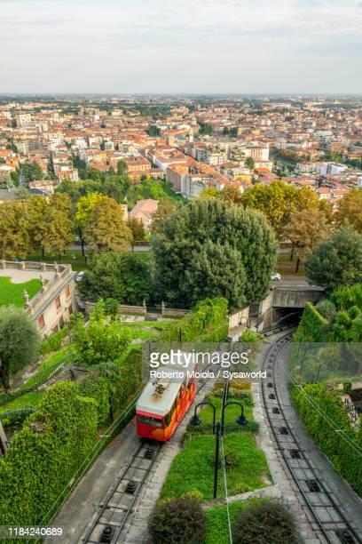 funicular towards città alta, bergamo, italy - bergamo stock pictures, royalty-free photos & images