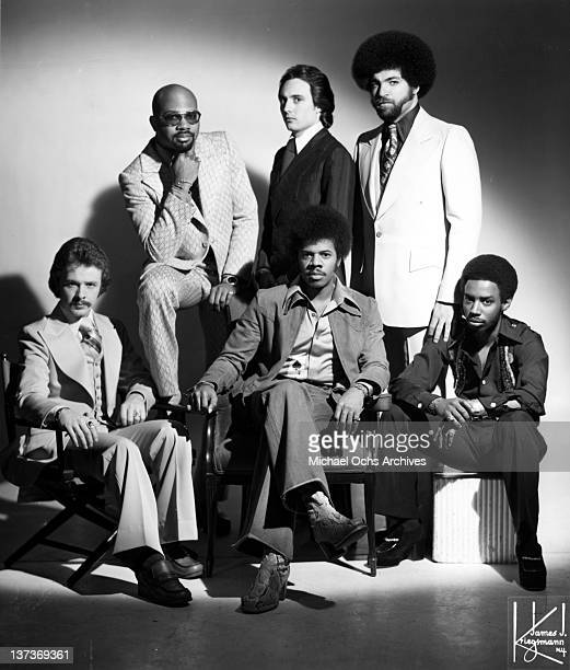 Funk musician Jimmy Castor poses for a portrait session with his group The Jimmy Castor Bunch in circa 1972 in New York City New York Top row left to...