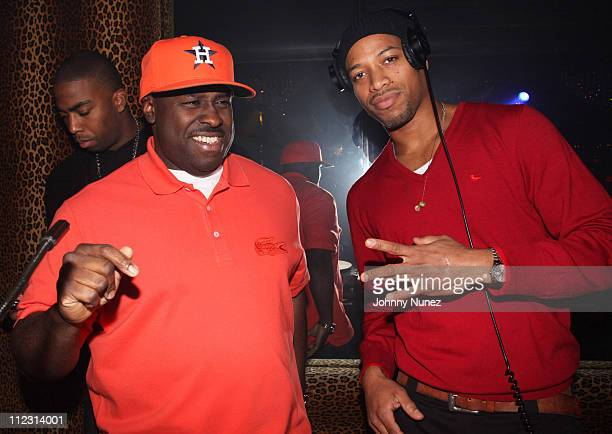 DJ Funkmaster Flex and DJ Erick La Peau attend a party at M2 Ultra Lounge on December 18 2009 in New York City