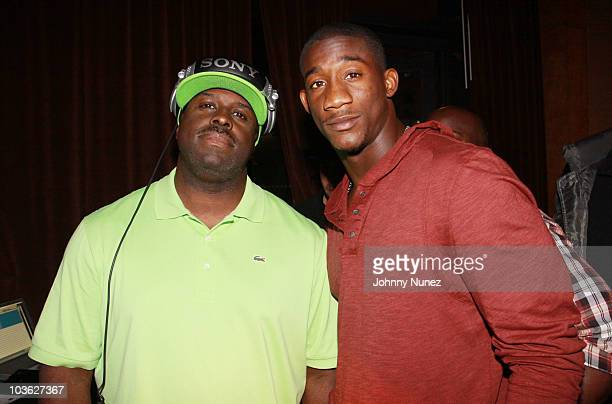 """Funkmaster Flex and NFL player Antrel Rolle attend Sean Garrett's """"The Inkwell"""" MixTape Launch Party at Lucky Strike on August 24, 2010 in New York..."""
