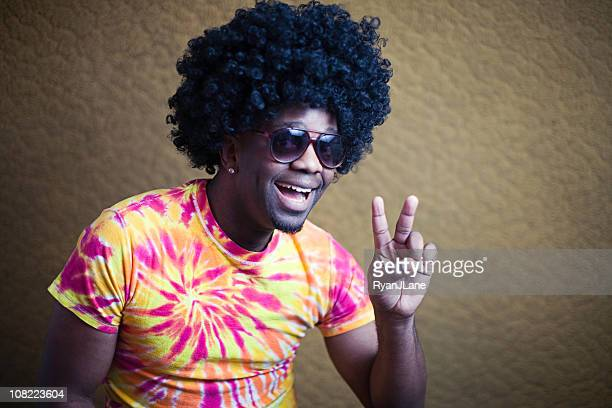 Funky African American Hippy with Afro