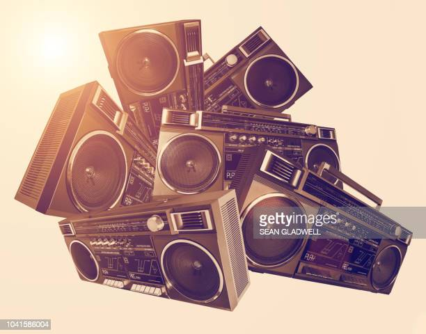 funky boombox collage - rap stock pictures, royalty-free photos & images