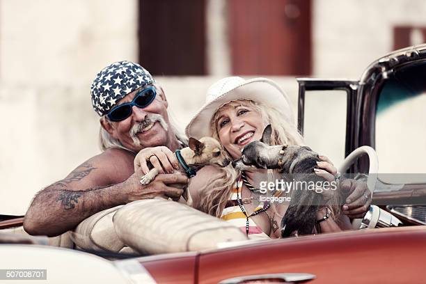 Funky couple and dogs in Cuba